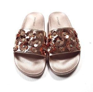 Bamboo Slide Sandals Pink Rose Gold Metallic